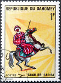 DAHOMEY - CIRCA 1970: A stamp printed in Dahomey shows Bariba Warrior, circa 1970 — Stock Photo