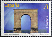 SPAIN - CIRCA 2012: A stamp printed in Spain dedicated to arches and monumental gates, shows Arco de Bara at Tarragona, circa 2012 — Stock Photo
