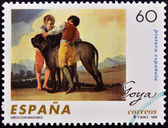 SPAIN - CIRCA 1996: A stamp printed in Spain shows Children with hounds by Francisco de Goya, circa 1996 — Stock Photo