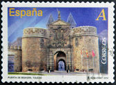 SPAIN - CIRCA 2012: A stamp printed in Spain dedicated to arches and monumental gates, shows Door Hinge in Toledo, circa 2012 — Stock Photo