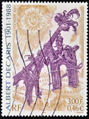 FRANCE - CIRCA 2001: A stamp printed in France shows image of the Arch of Triumph courting the Eiffel Tower, by Albert Decaris, circa 2001 — Stock Photo