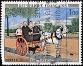 "FRANCE - CIRCA 1967: A stamp printed in France shows ""Father Juniet's Gig"". by Henri Rousseau, circa 1967 — Stock Photo"