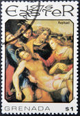 GRENADA - CIRCA 1975: A stamp printed in Grenada showsthe descent of Christ from the cross by Raphael, circa 1975 — Stock Photo