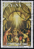 GUYANA - CIRCA 1993: A stamp printed in Guayana shows Pentecost by Tiziano, circa 1993 — Foto Stock