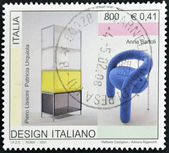 ITALY - CIRCA 2001: A stamp printed in Italy dedicated to italian design shows work by Piero Lissoni, Patricia Urquiola and Anna Bartoli, circa 2001 — Stock Photo