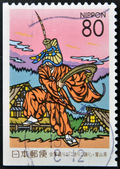 JAPAN - CIRCA 1999: A stamp printed in Japan shows Dance Kokiriko, Toyama Prefecture, circa 1999 — Stock Photo