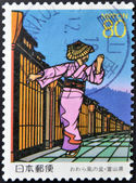 JAPAN - CIRCA 1997: A stamp printed in Japan dedicated to Bon of wind Owara, shows dancing girl, circa 1997 — Stock Photo
