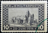 BOSNIA AND HERZEGOVINA - CIRCA 1917: A stamp printed in Bosnia and Herzegovina in memory of the assassination of Franz Ferdinand, Archduke of Austria, on June 28, 1914, circa 1917 — Stock Photo
