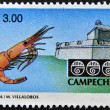MEXICO - CIRCA 1997: A stamp printed in Mexico shows strength and shrimp associated with the state and city of Campeche, Mexico, circa 1997 - Foto de Stock