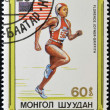 MONGOLIA - CIRCA 1989: stamp printed in Mongolia shows runner, Florence Joyner Griffith, circa 1989 - Stock Photo