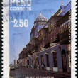 Stock Photo: PERU - CIRC1985: stamp printed in Peru commemorating 450th anniversary of founding of Lima, showing palace Osambela, circ1985