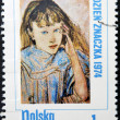 POLAND - CIRCA 1974: A Stamp printed in Poland shows children's portrait by artist Stanislav Wyspianski, circa 1974 - Stockfoto