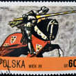 POLAND - CIRCA 1972: A stamp printed in Poland dedicated to Polish horse riding, shows Władysław II Jagiełło's rider, circa 1972 — Stock Photo