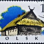 POLAND - CIRCA 1973: A stamp printed in Poland shows typical house, Kurpie-chata, circa 1973 — Stock Photo #10219921