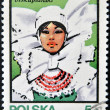 POLAND - CIRC1983: stamp printed in Poland dedicated to traditional Hats shows Biskupianski, circ1983. — Zdjęcie stockowe #10219984