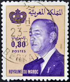 MOROCCO - CIRCA 1981: A stamp printed in Morocco shows King Hassan II (Moulay Hassan II Muhammad ben Yusuf). circa 1981 — Stockfoto