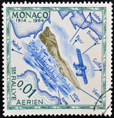 MONACO - CIRCA 1964: A stamp printed in Monaco shows air rally, circa 1964 — Stock Photo