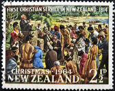 NEW ZEALAND - CIRCA 1964: A stamp printed in New Zealand shows first christian service in New Zealand - 1814, circa 1964 — Stock Photo