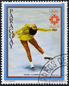 PARAGUAY - CIRCA 1983: A stamp printed in Paraguay shows Peggy Fleming, circa 1983 — Stock Photo