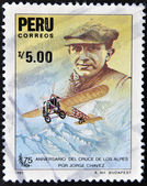 PERU - CIRCA 1985: A stamp printed in Peru dedicated to anniversary of the crossing of the Alps by Jorge Chavez, circa 1985 — Stock Photo