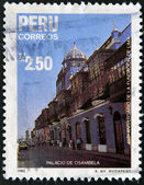 PERU - CIRCA 1985: A stamp printed in Peru commemorating the 450th anniversary of the founding of Lima, showing the palace Osambela, circa 1985 — Stock Photo