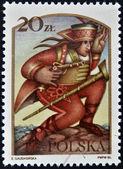POLAND - CIRCA 1986: A stamp printed in Poland dedicated to Polish legends, shows Juraj Jánošík , circa 1986 — Stockfoto