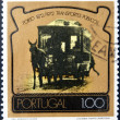 PORTUGAL - CIRCA 1972: A stamp printed in Portugal dedicated to 100 years of public transport in Porto, circa 1972 — Stockfoto