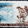 Foto de Stock  : ROMANI- CIRC1957: stamp printed in Romanishow Sputnik 2 and Laika, circ1957.