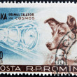Stok fotoğraf: ROMANI- CIRC1957: stamp printed in Romanishow Sputnik 2 and Laika, circ1957.