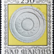 Stock Photo: SAN MARINO - CIRC1974: stamp printed in SMarino dedicated to Ancient Weapons from CestMuseum, shows SforzShield, circ1974