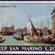 "SAN MARINO - CIRCA 1971: A stamp printed in San Marino shows ""View of the Harbour of Venice and the Customs' Office"" by Canaletto, circa 1971 — Stock Photo"