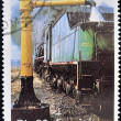 Stock Photo: SAO TOME AND PRINCIPE - CIRC1989: stamp printed in Sao Tome shows train fueling, circ1989