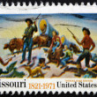 "UNITED STATES OF AMERICA - CIRCA 1971: A stamp printed in USA shows picture ""Independence and opening of the West"", by Thomas Hart Benton, circa 1971 — Stock Photo"