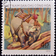 VIETNAM - CIRC1973: stamp printed in Vietnam shows mon elephant outside, Circ1973 — Stok Fotoğraf #10221724
