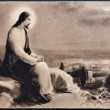 图库照片: SPAIN - CIRCA 1935: An old postcard printed in Spain shows image of Jesus Christ, circa 1935