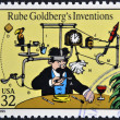 UNITED STATES OF AMERICA - CIRCA 1995: A stamp printed in USA dedicated to comic strip classics, shows Rube Goldbergs Inventions, circa 1995 — Stock Photo