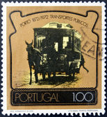 PORTUGAL - CIRCA 1972: A stamp printed in Portugal dedicated to 100 years of public transport in Porto, circa 1972 — Stock Photo