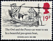 GREAT BRITAIN - CIRCA 1988: a stamp printed in the Great Britain shows The Owl and the Pussycat in a Boat, Drawing by Edward Lear, circa 1988 — Stock Photo