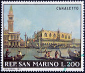 "SAN MARINO - CIRCA 1971: A stamp printed in San Marino shows ""View of the San Marco Basin on the Molo"" by Canaletto, circa 1971 — Stock Photo"