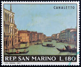 "SAN MARINO - CIRCA 1971: A stamp printed in San Marino shows ""Canale Grande between Palazzo Balbi and Rialto Bridge"" by Canaletto, circa 1971 — Stock Photo"