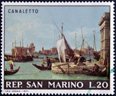 "SAN MARINO - CIRCA 1971: A stamp printed in San Marino shows ""View of the Harbour of Venice and the Customs' Office"" by Canaletto, circa 1971 — Foto de Stock"