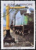 SAO TOME AND PRINCIPE - CIRCA 1989: A stamp printed in Sao Tome shows a train fueling, circa 1989 — Stock Photo