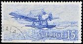 SWEDEN - CIRCA 1990: A stamp printed in Sweden shows seaplane, circa 1990 — Zdjęcie stockowe