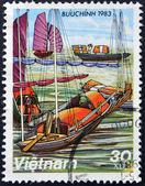 VIETNAM - CIRCA 1983: A stamp printed in Vietnam, shows Docked Sampans, circa 1983 — Stock Photo