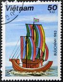 VIETNAM - CIRCA 1983: A stamp printed in Vietnam shows Sampan, circa 1983 — Stock fotografie