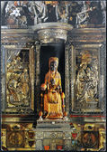 SPAIN - CIRCA 1960: A postcard printed in Spain shows statue of Black Madonna of Montserrat, circa 1960 — Stock Photo