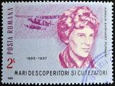 Румыния - около 1985: марку, напечатанную в Румынии показывает Амелия Эрхарт putnam, около 1985 — Стоковое фото