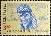ROMANIA - CIRCA 1985: A stamp printed in romania shows Edmund Hillary, circa 1985 — Stockfoto