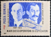 ROMANIA - CIRCA 1985: A stamp printed in Romania shows Wilbur Wright and Orville Wright, circa 1985 — Stock Photo