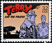 UNITED STATES OF AMERICA - CIRCA 1995: A stamp printed in USA dedicated to comic strip classics, shows Terry and the pirates, circa 1995 — Stock Photo